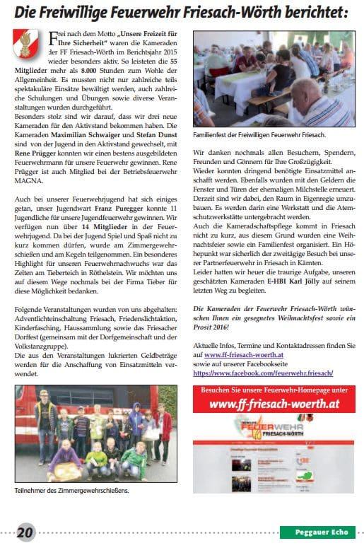 FFFW 2015.12. Einschaltung Peggauer Zeitung